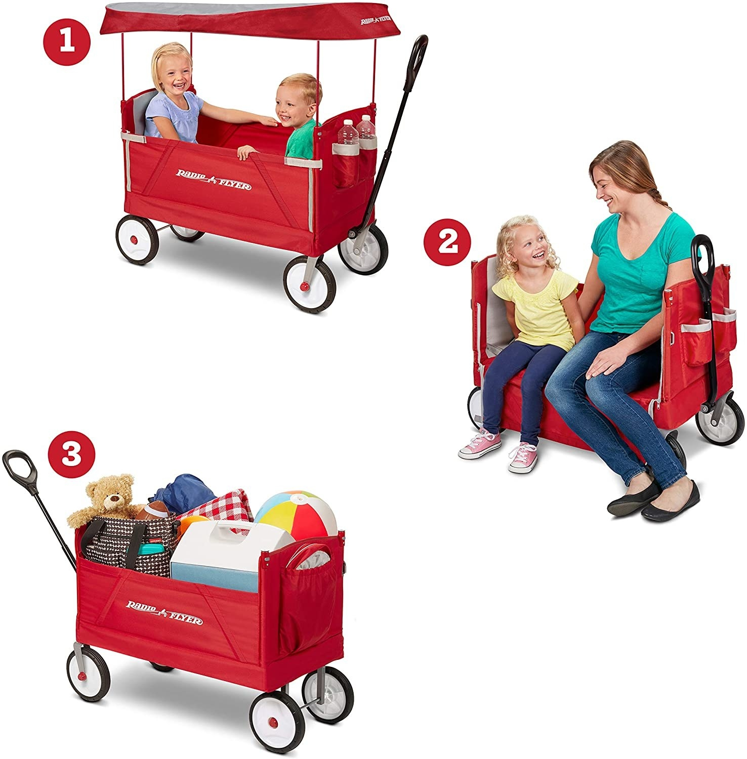 a graphic showing the three different ways the wagon can be used