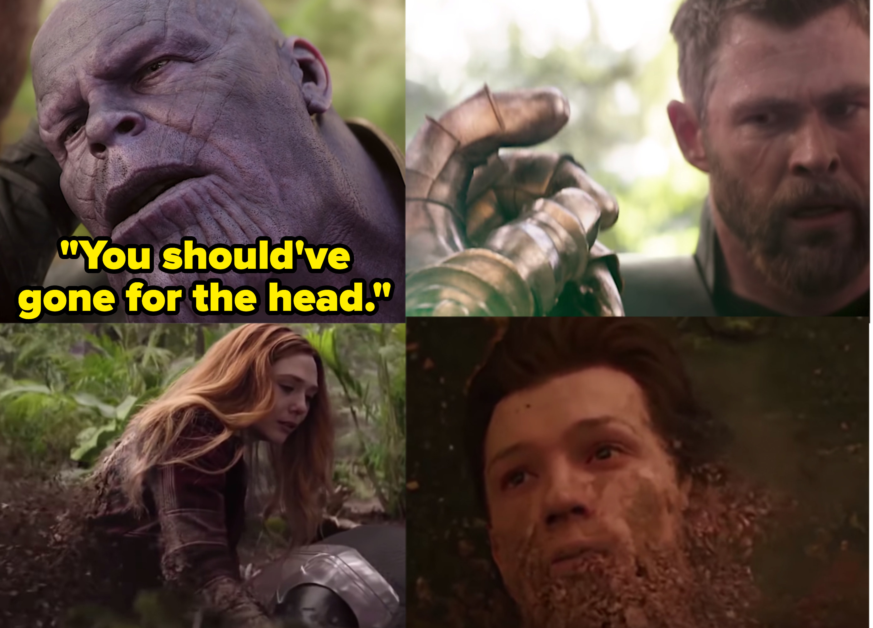 """Chris Hemsworth as Thor, Tom Holland as Peter Parker / Spider-Man, Elizabeth Olsen as Wanda Maximoff / Scarlet Witch, and Josh Brolin as Thanos in the movie """"Avengers: Infinity War."""""""