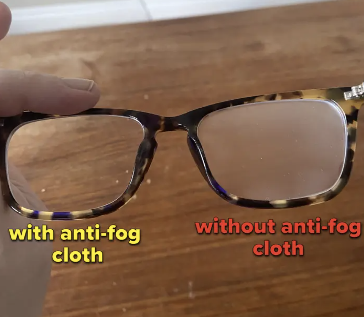 A comparison of each lens on a pair of glasses one with fog and one without
