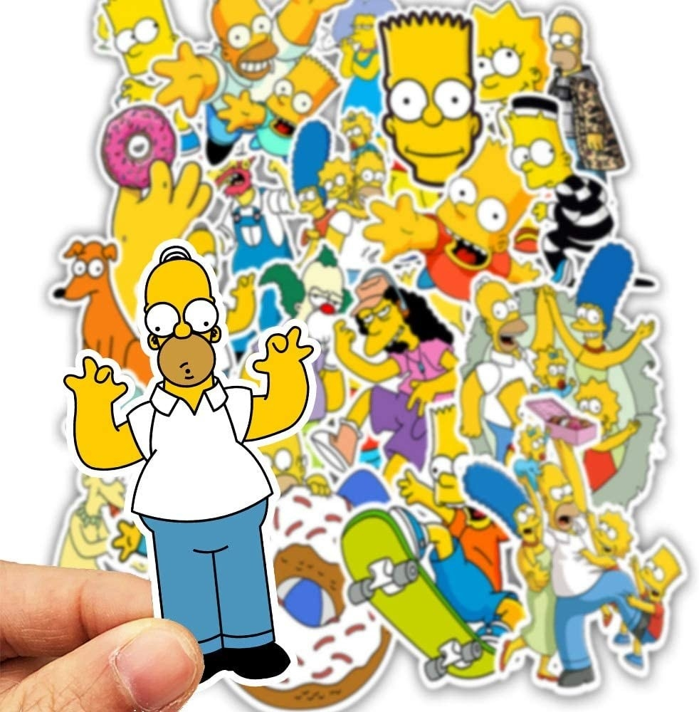 A person holding a Homer sticker in front of a pile of stickers