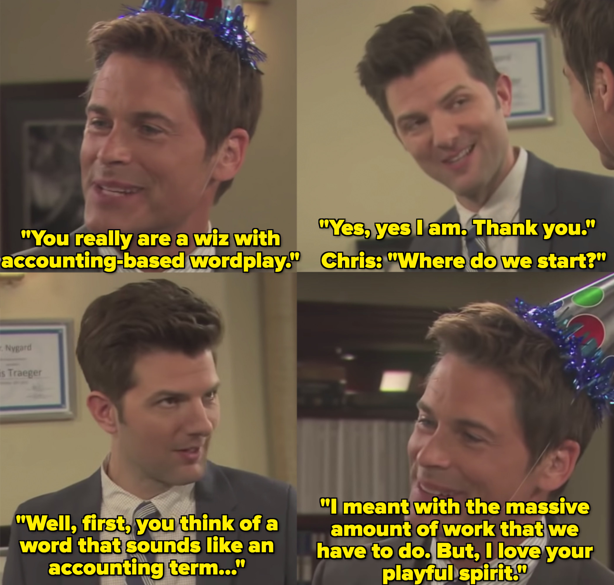 """Adam Scott as Ben Wyatt and Rob Lowe as Chris Traeger in the show """"Parks and Recreation."""""""
