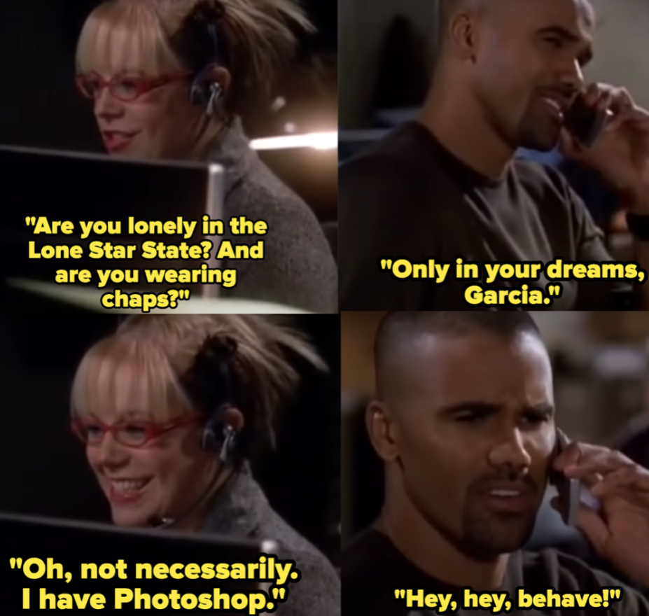"Shemar Moore as Derek Morgan and Kirsten Vangsness as Penelope Garcia in the show ""Criminal Minds."""