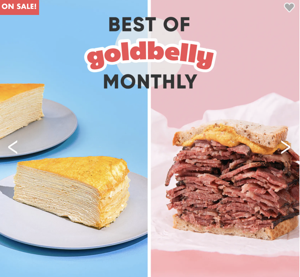 """A splitscreen features a layered crepe cake on a blue background and a pastrami sandwich on a pink screen with text """"Best of Goldbelly Monthly"""" at the top"""