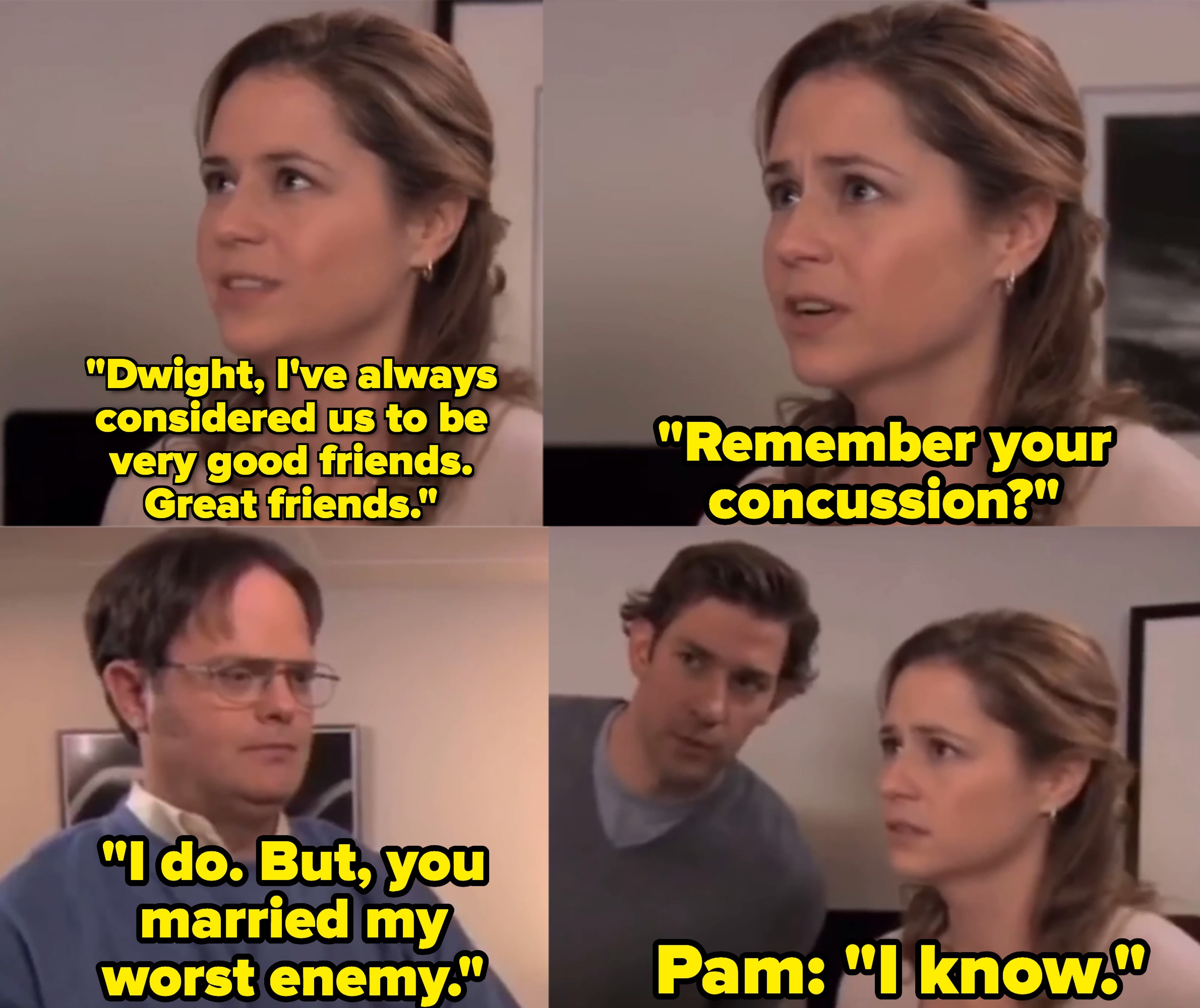 """Rainn Wilson as  Dwight Schrute and Jenna Fischer as Pam Beesly in the show """"The Office."""""""