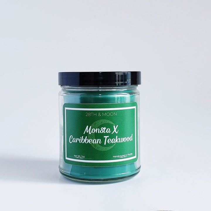 the green Monsta X candle
