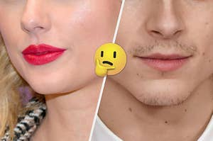 Two pairs of lips with a thinking emoji in between the images