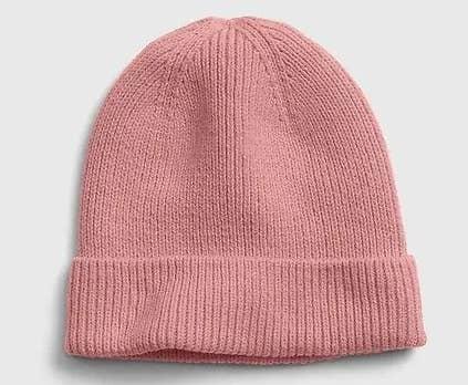 Pink beanie on white background