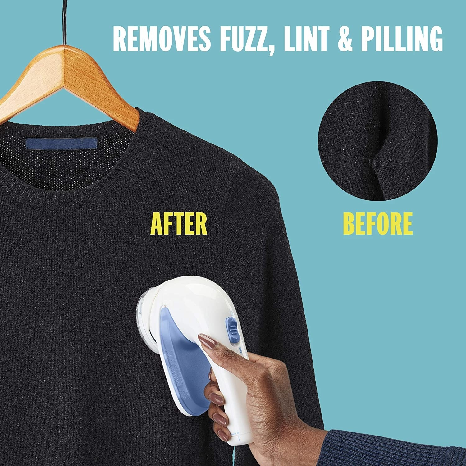 person shaving a sweater and a picture in the corner showing the before with pills