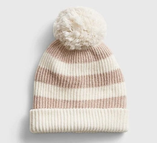 Multicolored beanie on white background