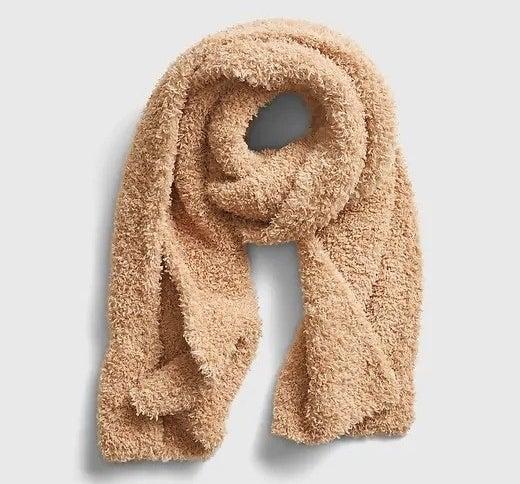 Beige scarf on white background
