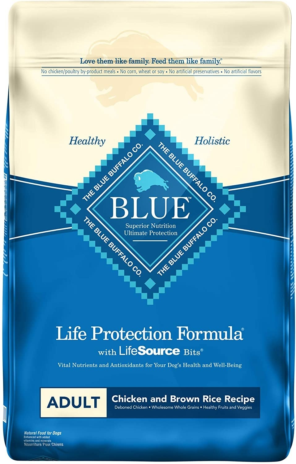a bag of blue buffalo dog food in chicken and brown rice recipe