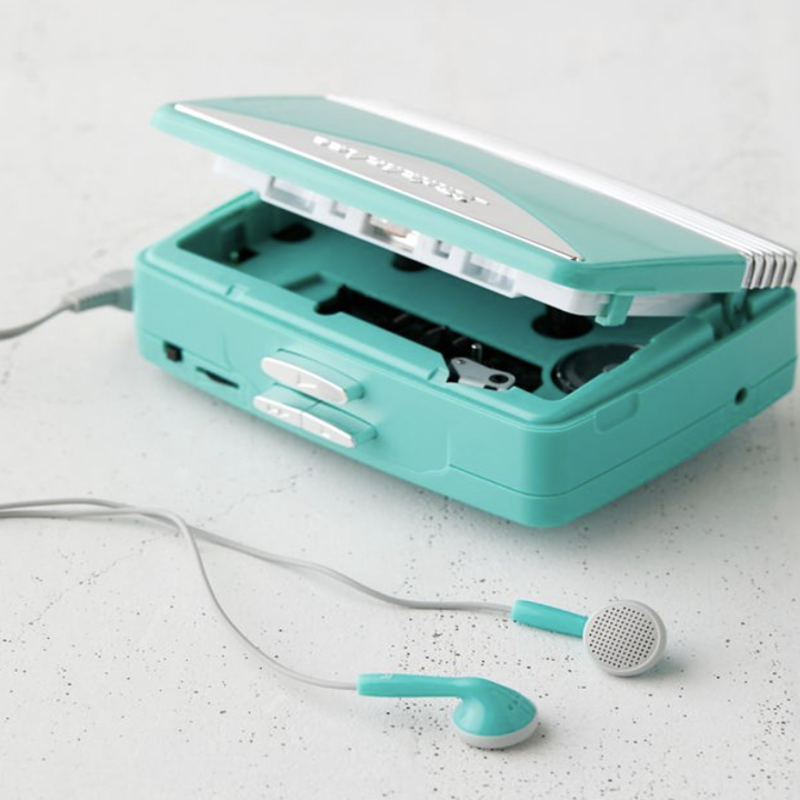 turquoise cassette tape player
