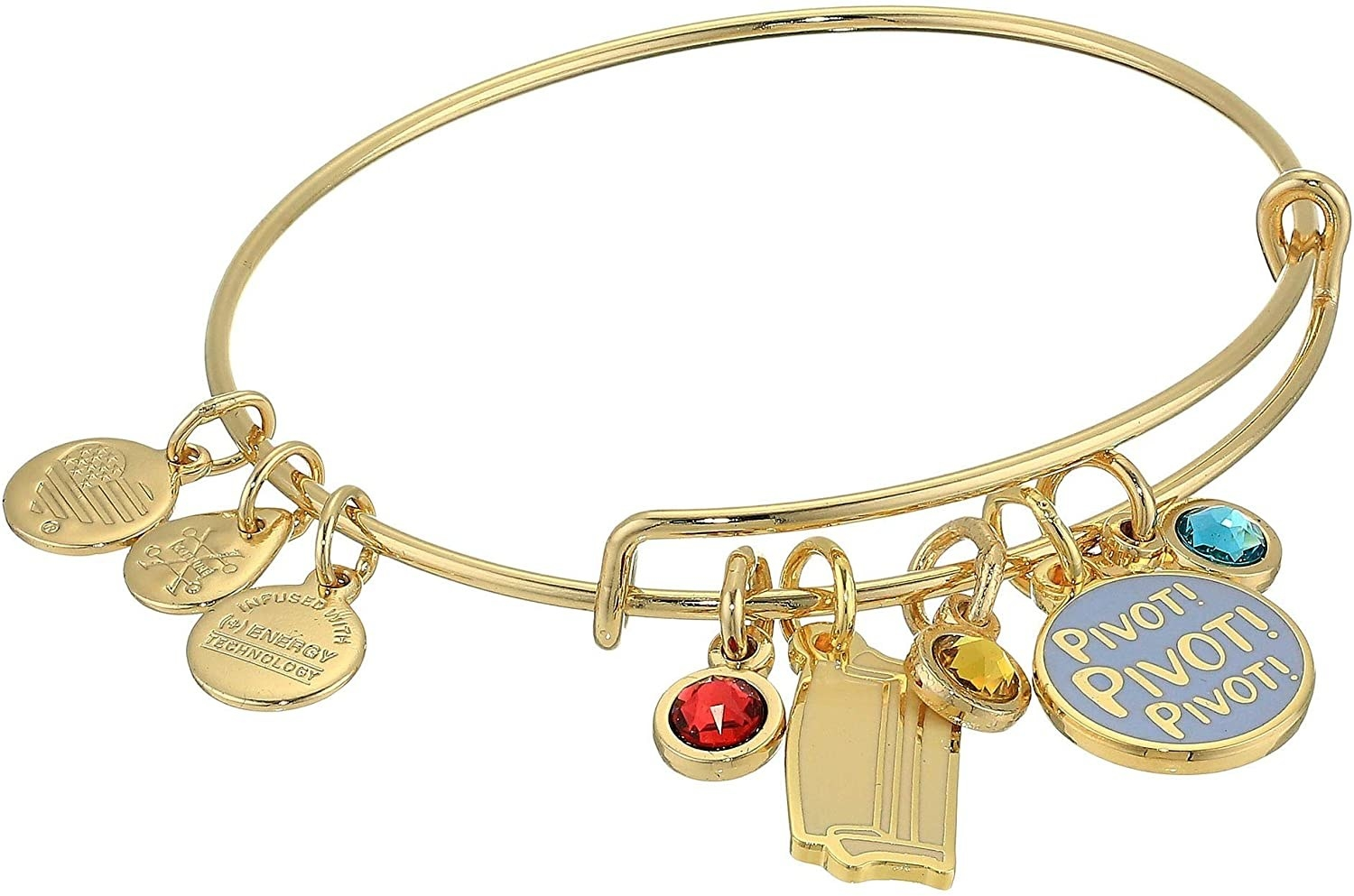 """a gold bangle with a charm that says """"pivot!"""" on it, a couch charm, and three colored stone charms"""