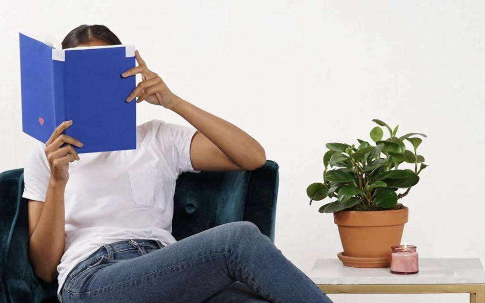 Model reading a blue book sitting in a velvet chair with a plant and candle next to them