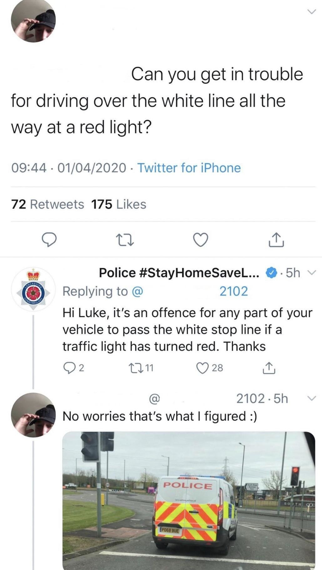person calling out a police truck for breaking the law