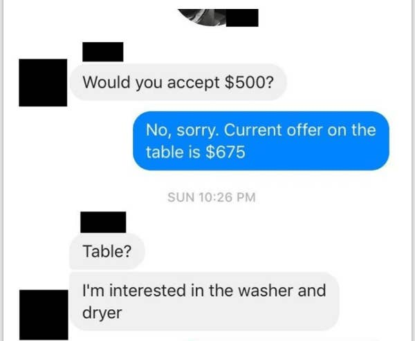 facebook conversation of someone mixing up on the table for being a literal table