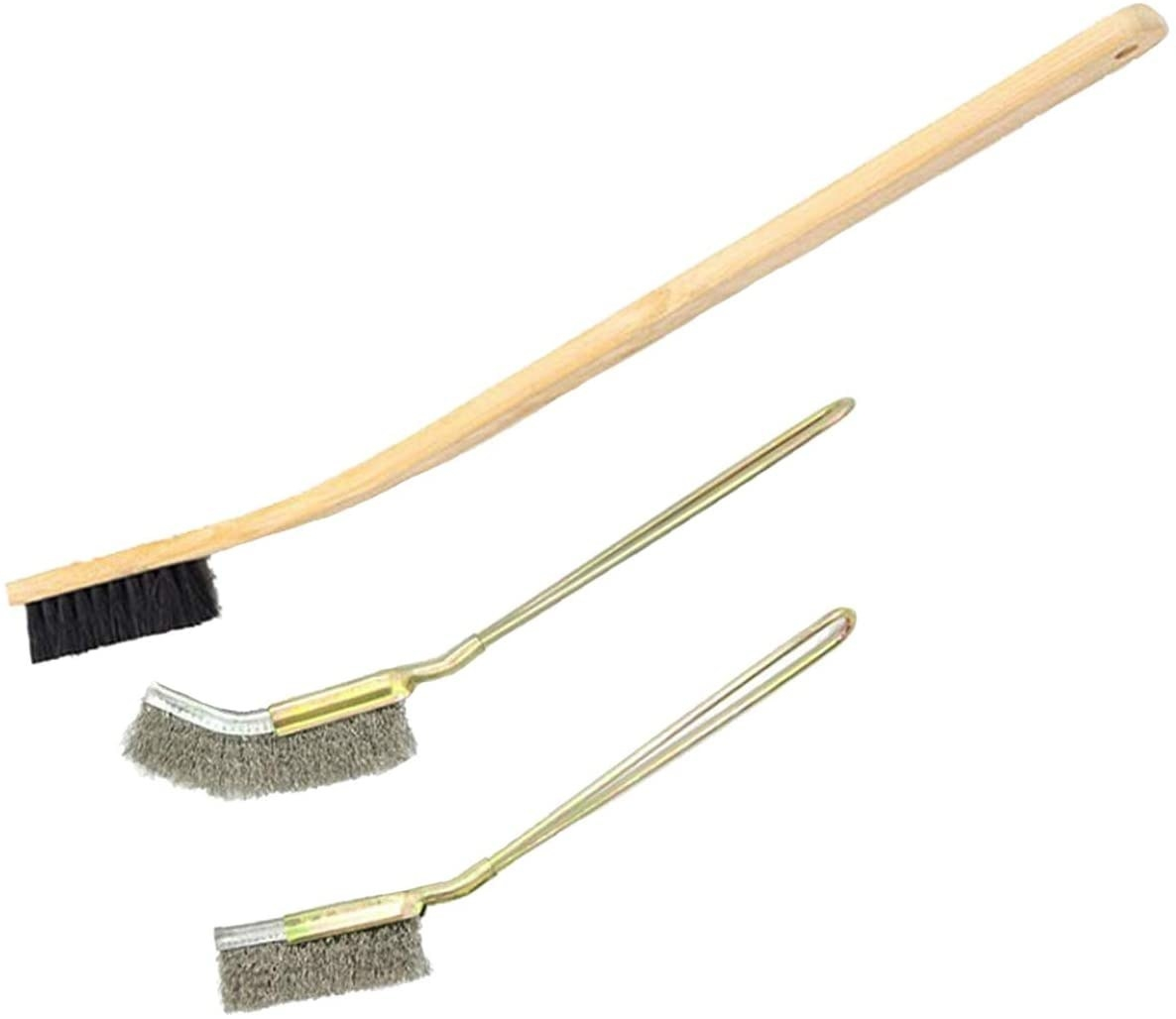 Three wooden and stainless steel cage cleaning brushes