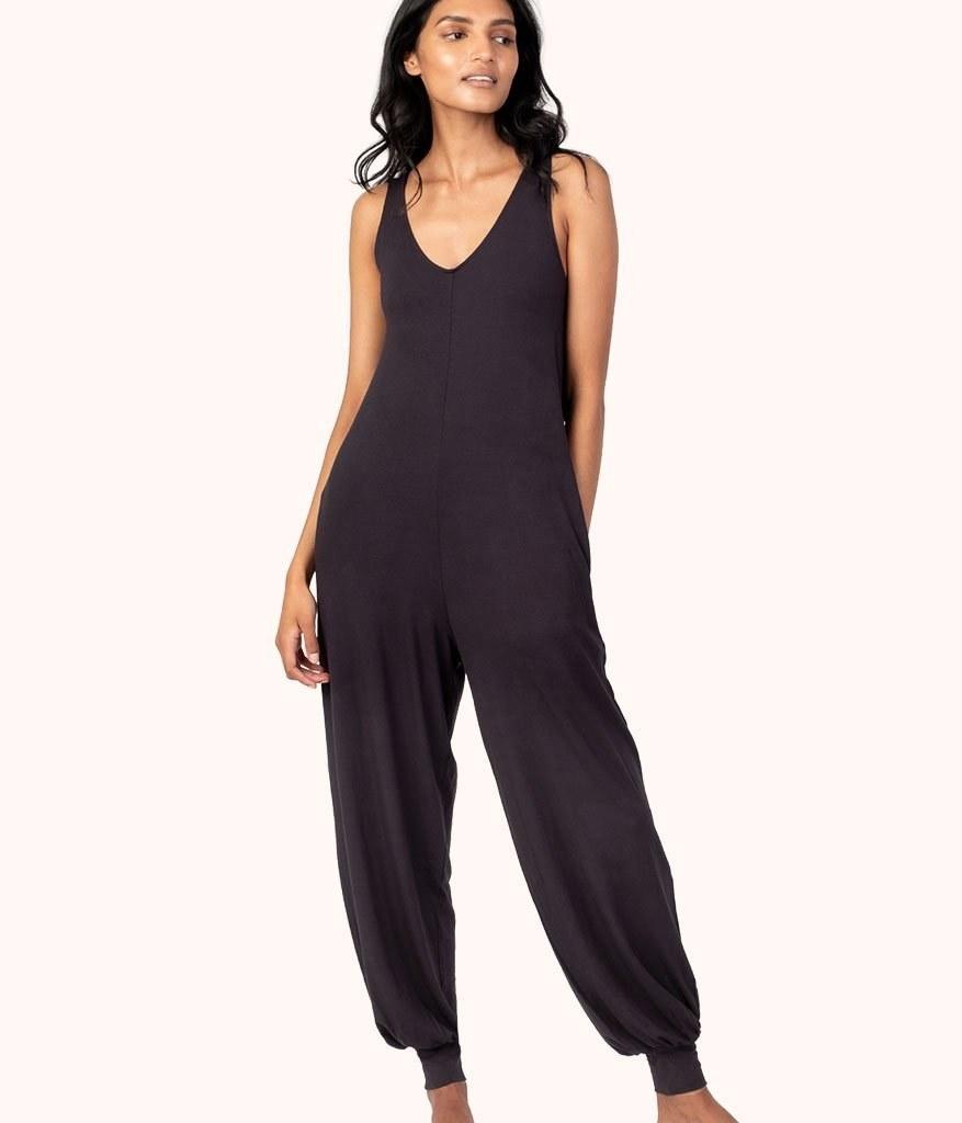 model wearing the black jumpsuit