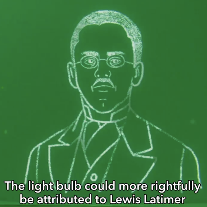 Pearl showing a drawing of Lewis Latimer and saying that the light bulb could more rightfully be attributed to him