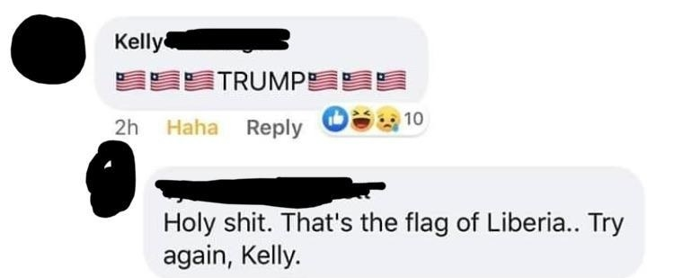 person mixing up the flag of liberia for the usa flag