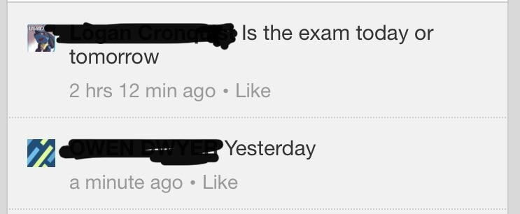 exchange of one person realizing the exam is not today, it was yesterday