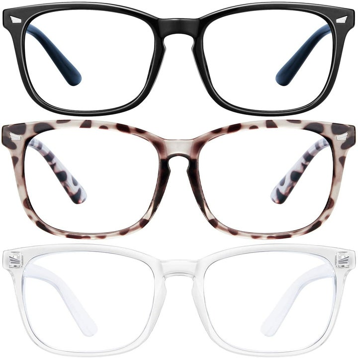 three pairs of glasses in different frame styles