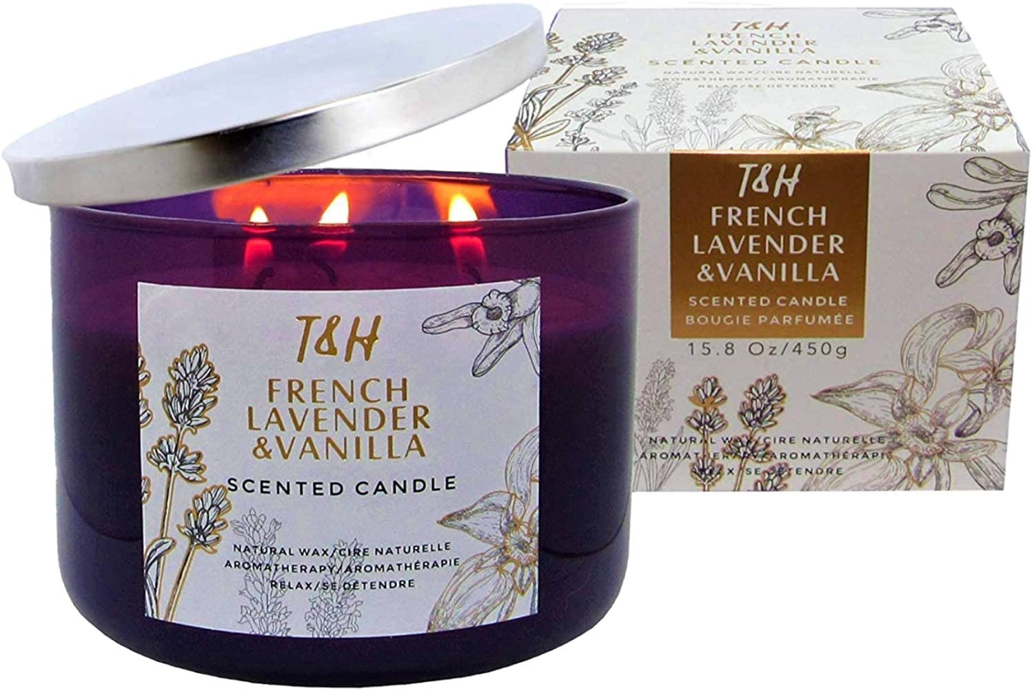 the T&H French Lavender & Vanilla Aromatherapy Candle
