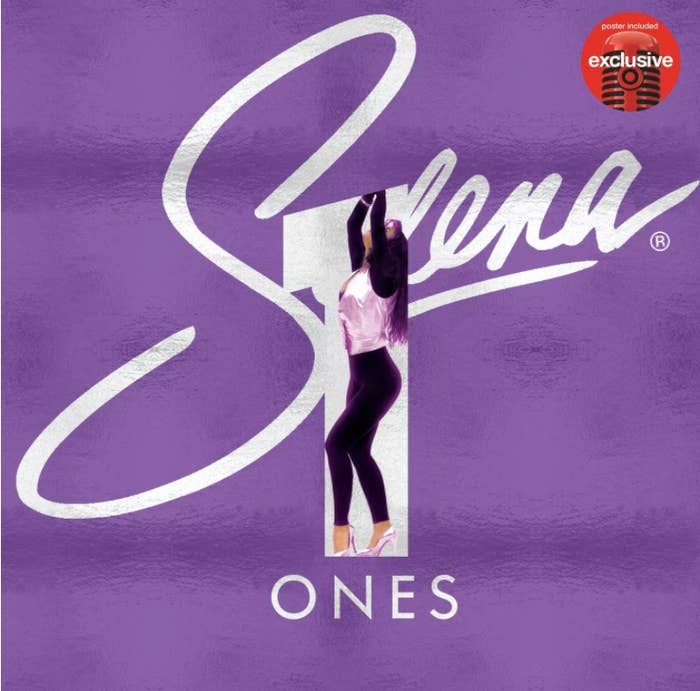 Purple cover of album featuring Selena standing inside a number 1