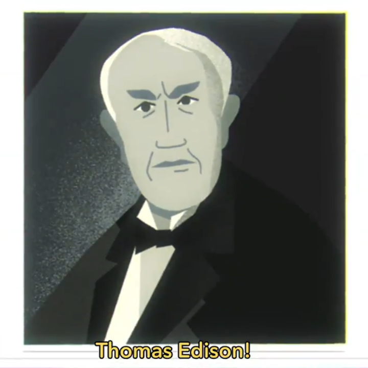 Pearl showing a photo of Thomas Edison