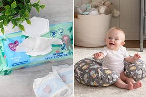 on left pack of baby wipes and on right baby sitting up with pillow