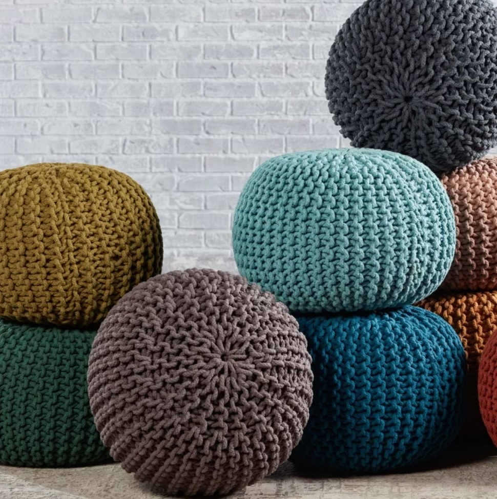 Multi colored knitted ottoman poufs