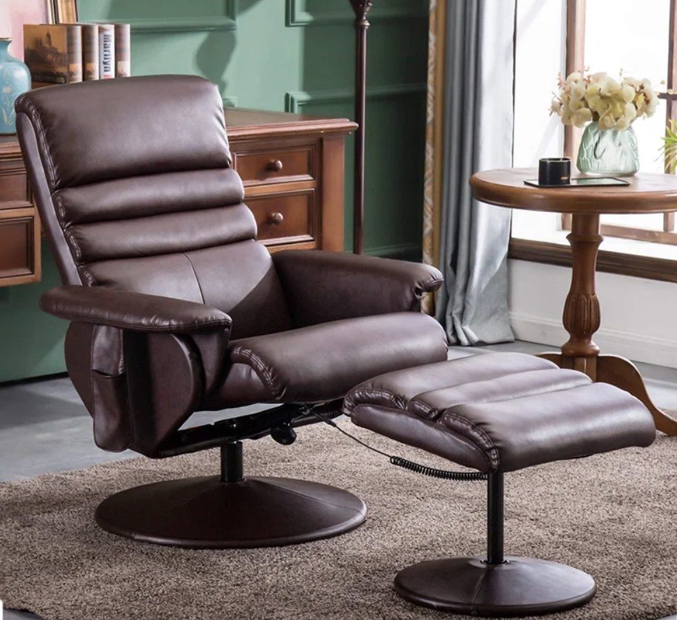 Brown faux leather reclining chair with matching ottoman