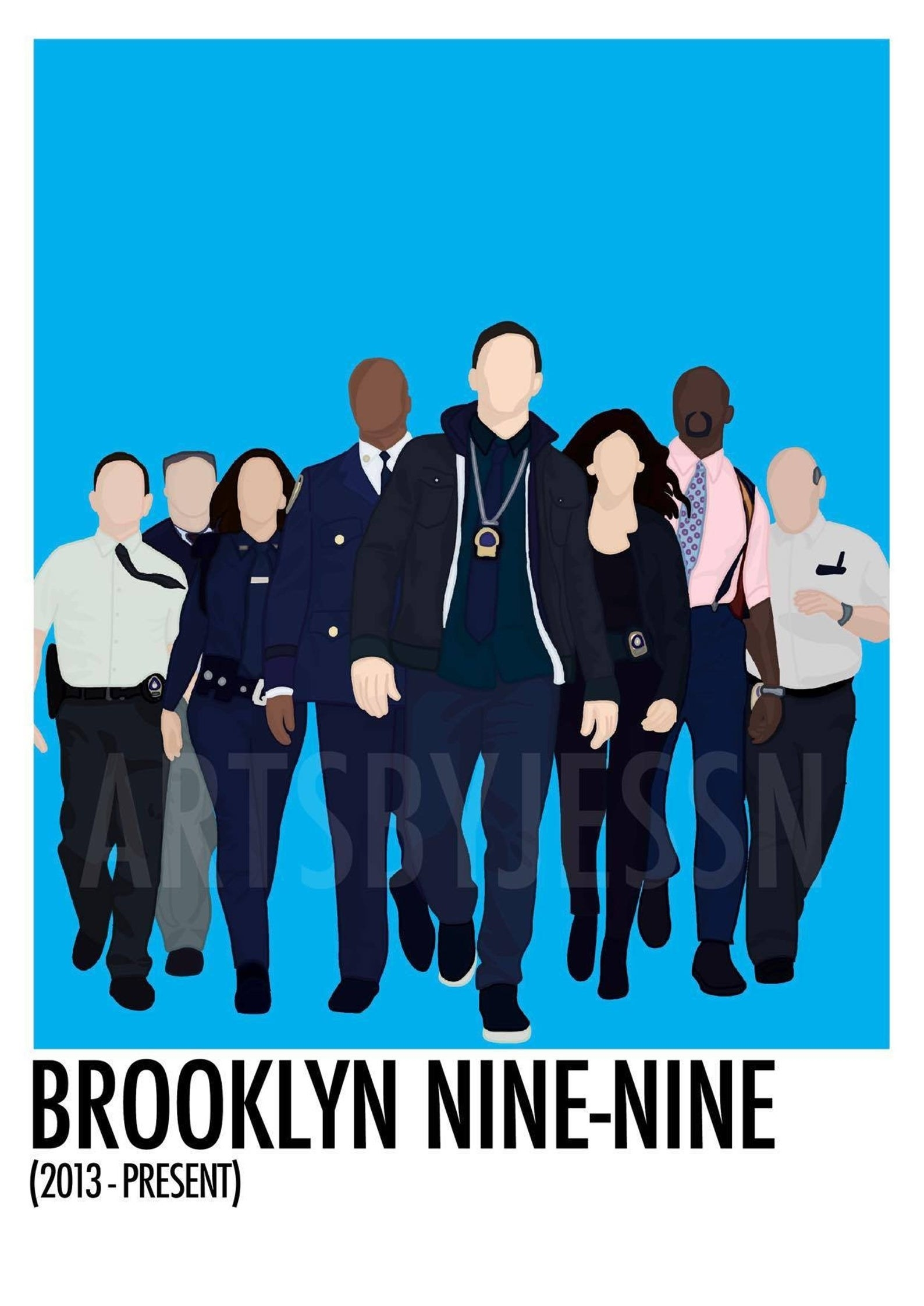 A minimalist drawing of Boyle, Scully, Amy, Holt, Jake, Rosa, Terry, and Hitchcock