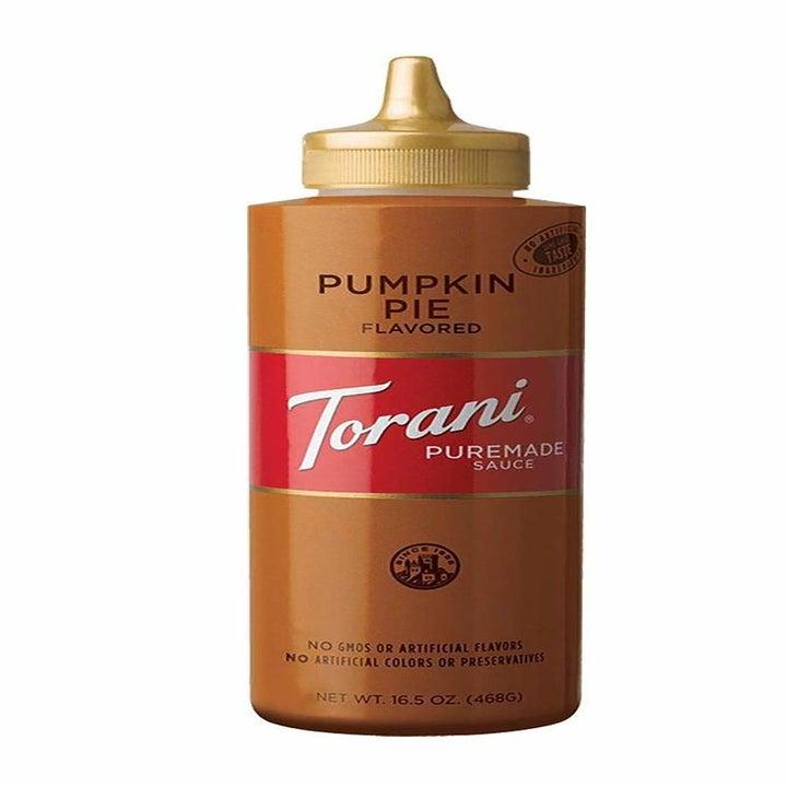 The Torani Puremade Pumpkin Pie Sauce in a squeeze bottle