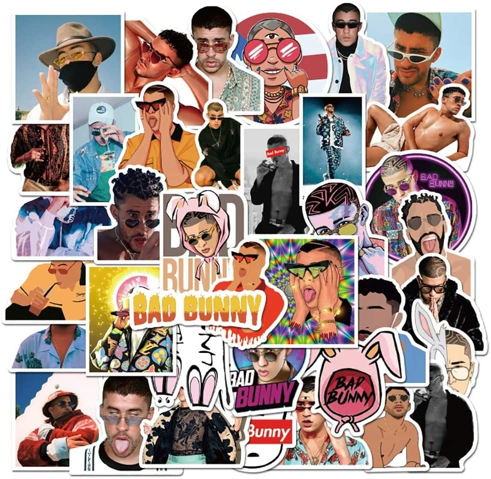 A collection of different stickers featuring Bad Bunny