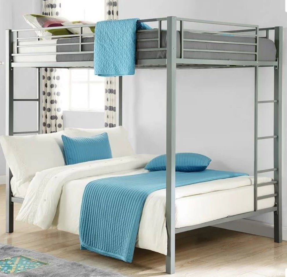 Gray bunk bed with full size mattresses