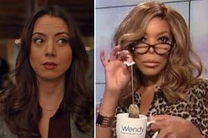 """Side-by-side of Valerio from """"Elite,"""" Riley from """"Happiest Season,"""" and Wendy Williams dunking a tea bag into a mug"""