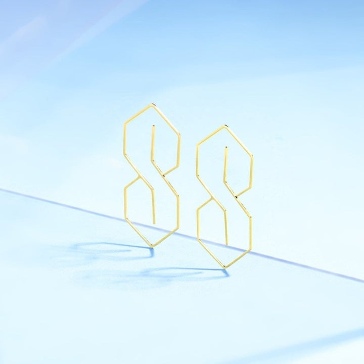 two earrings shaped liked a geometric S in a golden finish
