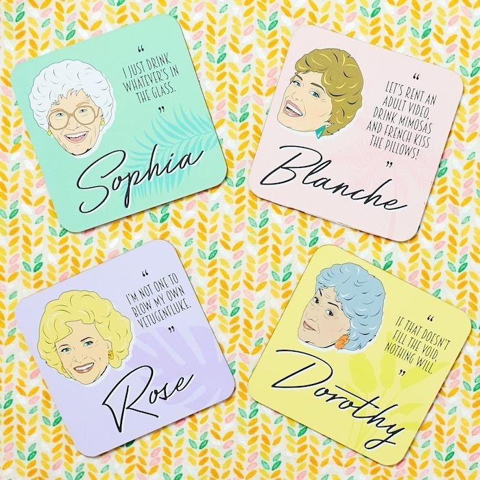 four coasters, each with a different Golden Girl on them, their names, and a quote