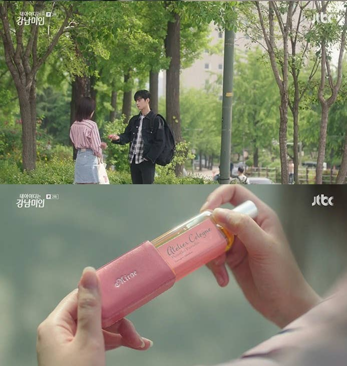 collage of two scenes: Kyung-seok handing Mi-rae the perfume on top, Mirae holding the perfume on bottom