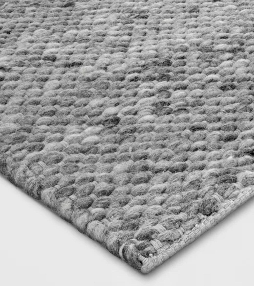 A closeup of the rug's texture