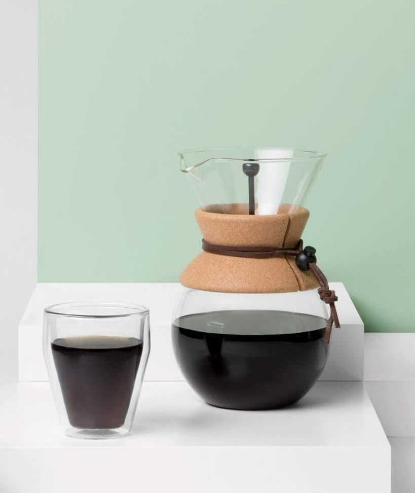 Pour-over coffee maker filled with coffee