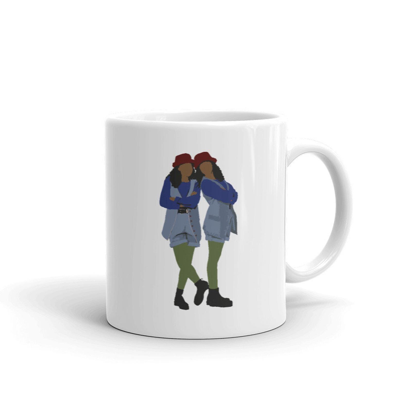 mug with the animated silhouettes of Tia & Tamara