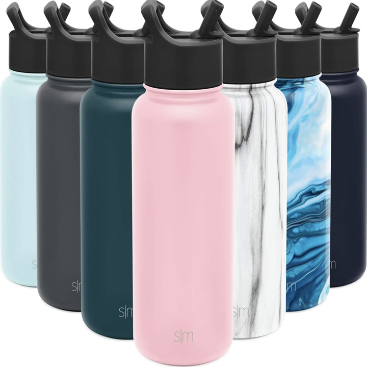 Seven Simple Modern water bottles in various colors and patterns
