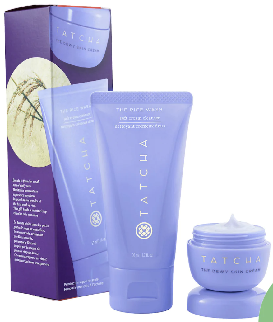 Tatcha Dewy Skin gift box with travel-sized cream cleanser and skin cream