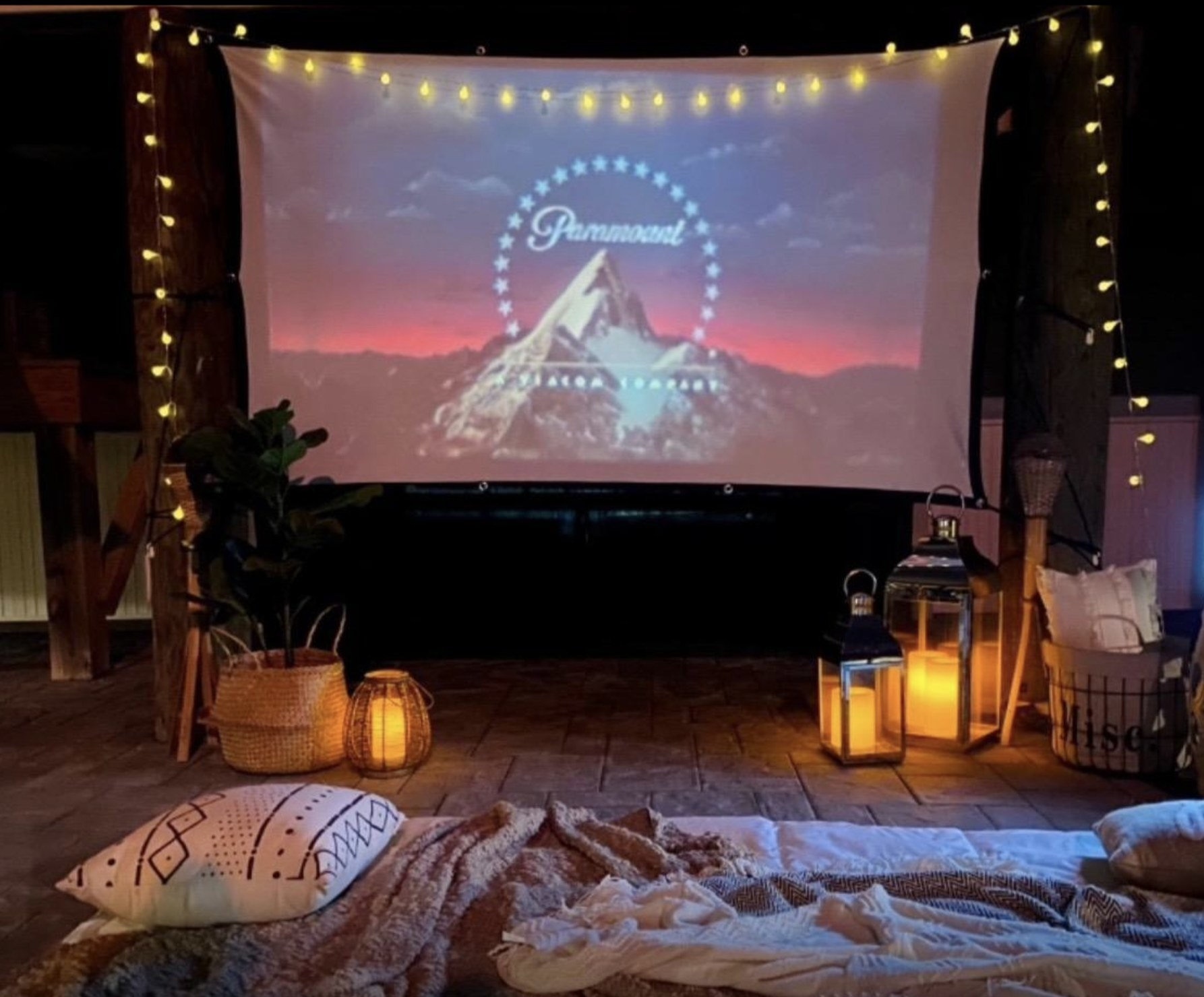 A movie projected on a screen