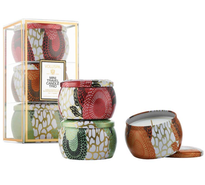 Voluspa gift set with three mini tin candles in various colors