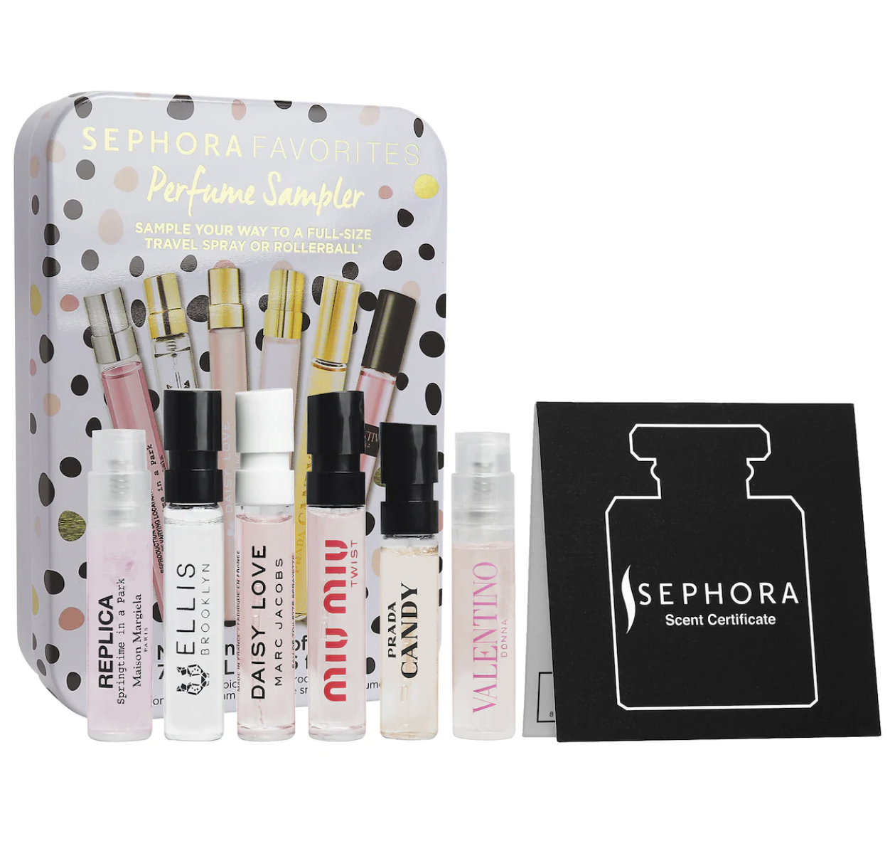 Sephora gift set with six sample size perfumes and a gift certificate