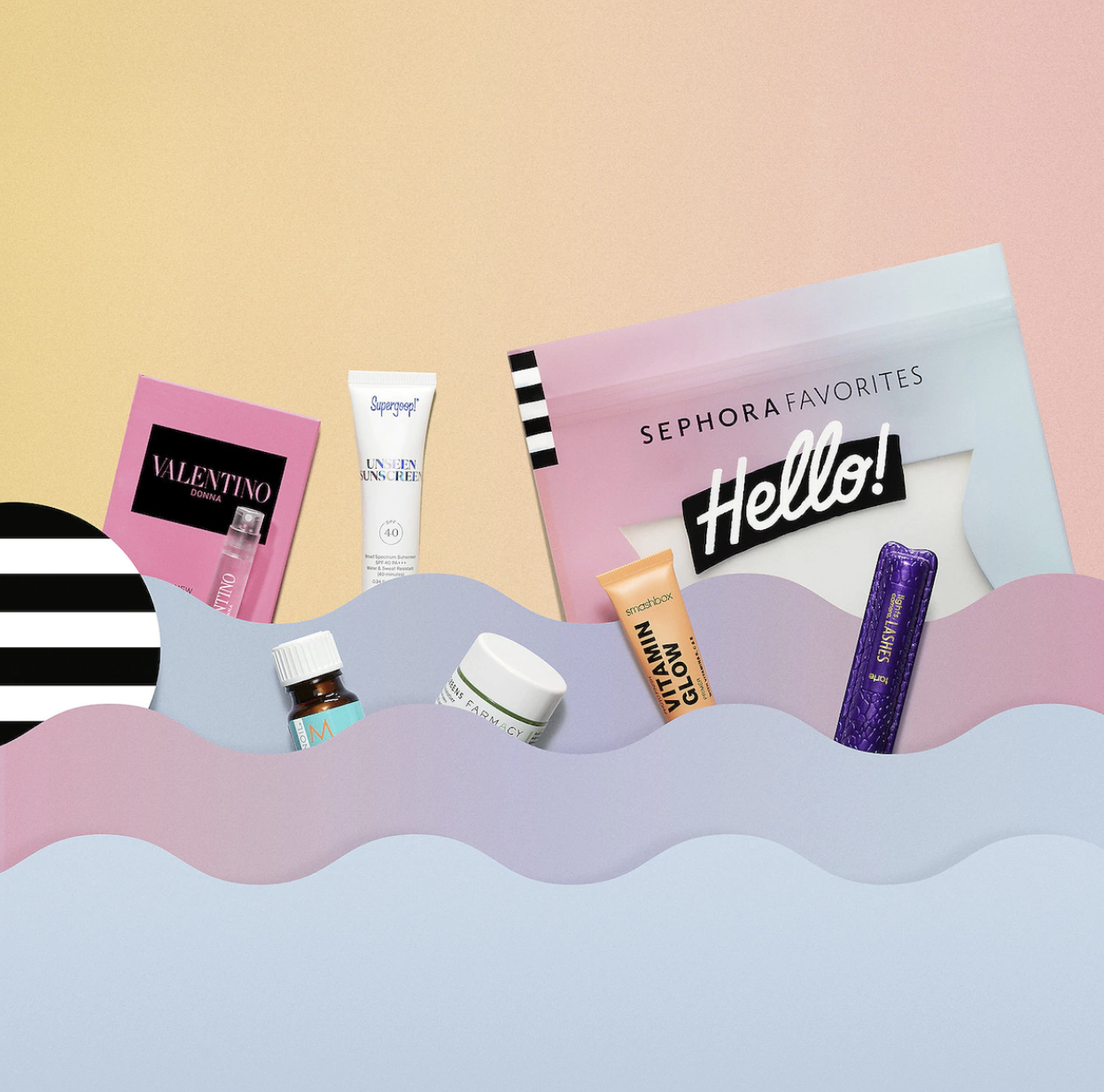Sephora gift bag with six sample-size products