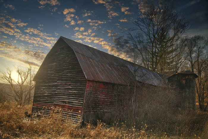 wooden barn and silo surrounded by trees, taken at sunset and features a dramatic sky of crystal blue and white wispy clouds